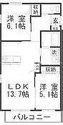 JR赤穂線 西大寺駅 徒歩23分の賃貸アパート 2階2LDKの間取り