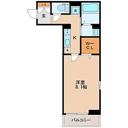 仙台市営南北線 五橋駅 徒歩13分の賃貸アパート 2階1Kの間取り