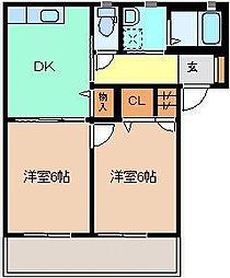 メゾン・ド・クレール D 1階2DKの間取り