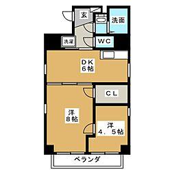 ジュネス木駒[3階]の間取り