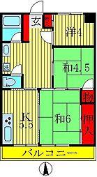 桜台染谷ハイツ[4階]の間取り