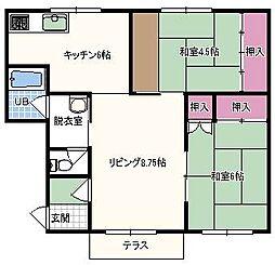 北海道砂川市空知太西五条7丁目の賃貸アパートの間取り