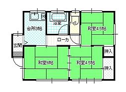 JR高崎線 本庄駅 徒歩23分の賃貸一戸建て 1階3DKの間取り