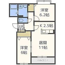 北海道札幌市北区百合が原7の賃貸マンションの間取り