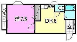 KBコート土居田2[201 号室号室]の間取り