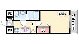神戸高速東西線 高速長田駅 徒歩2分の賃貸マンション 12階1Kの間取り