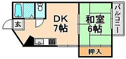 兵庫県伊丹市野間北2丁目の賃貸マンションの間取り
