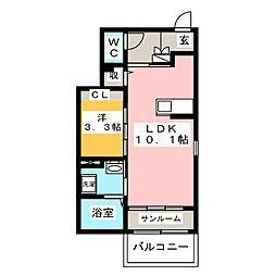 リトルグローブIII[1階]の間取り