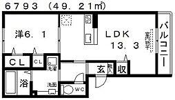 セジュール古市[102号室号室]の間取り