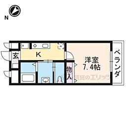JR東海道・山陽本線 長岡京駅 徒歩9分の賃貸マンション 2階1Kの間取り