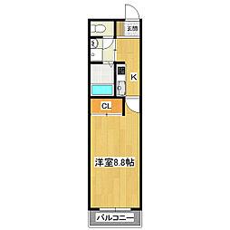茨城県つくば市高見原1丁目の賃貸アパートの間取り
