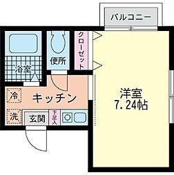 神奈川県相模原市中央区氷川町の賃貸アパートの間取り