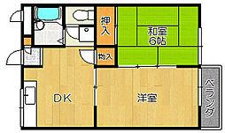 大阪府堺市西区鳳北町7丁の賃貸マンションの間取り