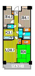 ハイホーム中浦和[7階]の間取り