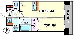 プレサンス大阪天満リバーシア 2階1LDKの間取り