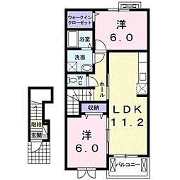 滋賀県甲賀市甲南町寺庄の賃貸アパートの間取り