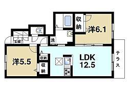 JR片町線(学研都市線) 木津駅 徒歩27分の賃貸アパート 1階2LDKの間取り
