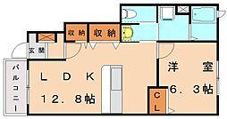リ−ヴ天神B[1階]の間取り