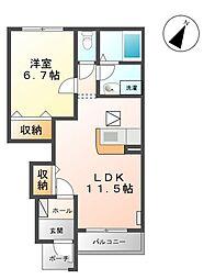 コンフォルトカーザ[1階]の間取り