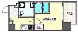 ファーストフィオーレ心斎橋イーストIII 3階1Kの間取り