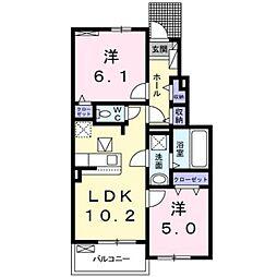 JR武蔵野線 吉川美南駅 徒歩27分の賃貸アパート 1階2LDKの間取り