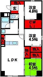 JR筑豊本線 中間駅 徒歩10分の賃貸マンション 6階3LDKの間取り