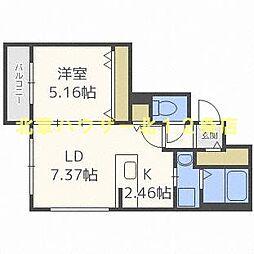 札幌市営東西線 西11丁目駅 徒歩10分の賃貸マンション 3階1LDKの間取り