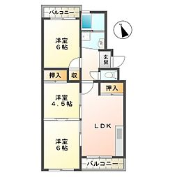 兵庫県神戸市垂水区福田3丁目の賃貸マンションの間取り