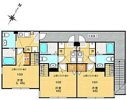 神奈川県相模原市中央区相生2丁目の賃貸アパートの間取り