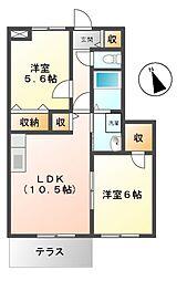 三重県松阪市高町の賃貸アパートの間取り