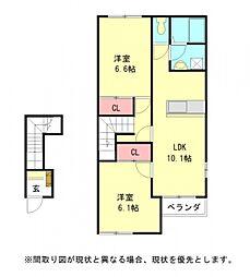 愛知県一宮市小信中島字西五反田の賃貸アパートの間取り