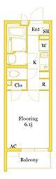 JR横須賀線 戸塚駅 徒歩21分の賃貸マンション 2階1Kの間取り