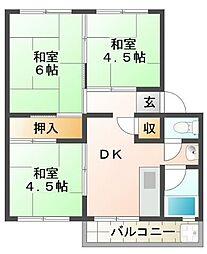 東垂水南住宅2号棟[4階]の間取り