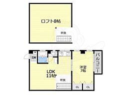 ラフォーレ若江岩田 3階1LDKの間取り