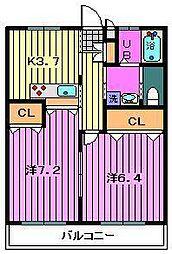 埼玉県川口市東本郷の賃貸アパートの間取り