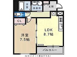Blanc Liaison 1階1LDKの間取り