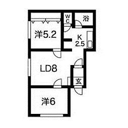 北海道札幌市中央区南五条西21丁目の賃貸アパートの間取り