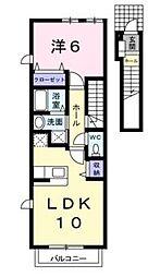 クレア・ポルト B[2階]の間取り