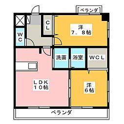 パークサイドK2[1階]の間取り