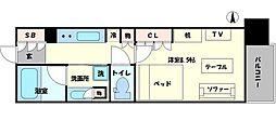 パークアクシス大阪新町 3階1Kの間取り