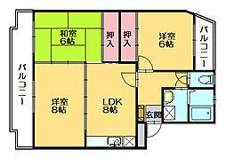 サンハイツKUDO[3階]の間取り