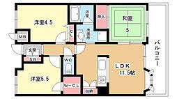 大阪府豊中市西緑丘3丁目の賃貸マンションの間取り
