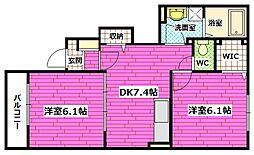 広島県広島市安芸区畑賀3の賃貸アパートの間取り