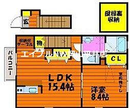 JR山陽本線 万富駅 5.4kmの賃貸アパート 2階1LDKの間取り