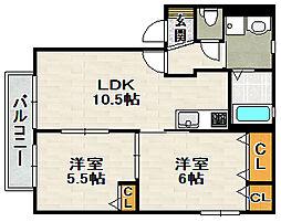 シャーメゾン宝塚長尾[1階]の間取り