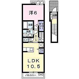 La Luce.S.V 2階1LDKの間取り