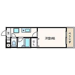 大阪府高槻市野田2丁目の賃貸マンションの間取り