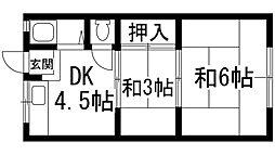 兵庫県宝塚市川面1丁目の賃貸アパートの間取り