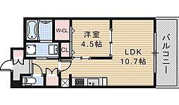 大阪府大阪市阿倍野区文の里2丁目の賃貸マンションの間取り