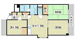 兵庫県姫路市広畑区小松町1丁目の賃貸マンションの間取り